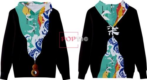 海浪仙鹤中国风印花图案服装裁片T恤卫衣全身印印花花型素材-POP花型网