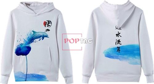 大海动物海豚印花图案服装裁片T恤卫衣全身印印花花型素材-POP花型网