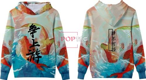 动物锦鲤印花图案服装裁片T恤卫衣全身印印花花型素材-POP花型网