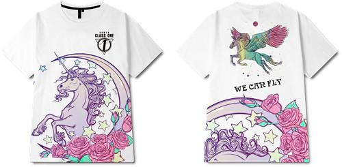 玫瑰花朵独角兽字母印花图案服装裁片T恤全身印印花花型素材-POP花型网