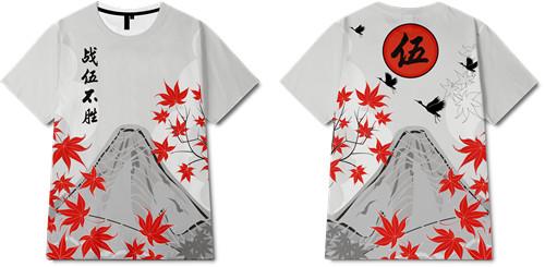 植物枫叶飞鸟印花图案服装裁片T恤全身印印花花型素材-POP花型网