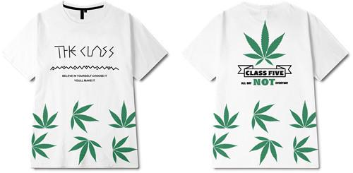 植物叶子字母印花图案服装裁片T恤烫图全身印印花花型素材-POP花型网