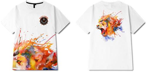 色彩涂鸦徽章字母印花图案服装裁片T恤全身印印花花型素材-POP花型网