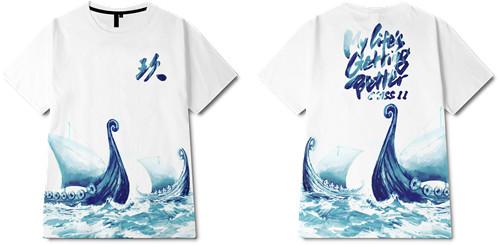 海浪动物章鱼字母印花图案服装裁片T恤全身印印花花型素材-POP花型网