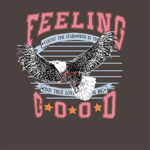 动物老鹰字母印花图案服装裁片T恤卫衣烫图印花花型素材-POP花型网