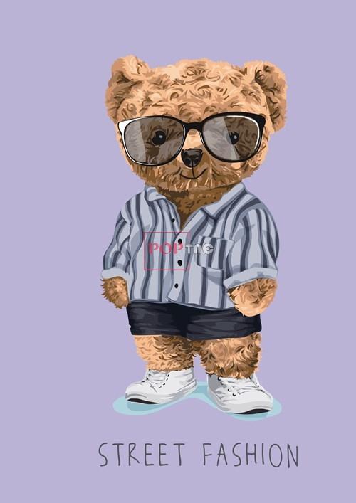 卡通动物小熊字母潮牌印花图案服装裁片T恤卫衣烫图印花花型素材-POP花型网