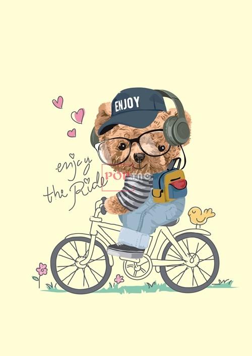 卡通动物小熊自行车爱心字母潮牌印花图案服装裁片T恤卫衣烫图印花花型素材-POP花型网