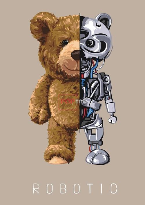 卡通动物机器人小熊字母潮牌印花图案服装裁片T恤卫衣烫图印花花型素材-POP花型网