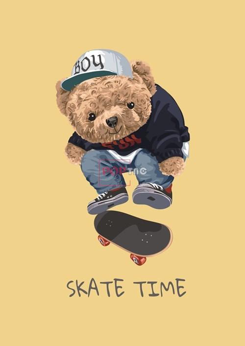 卡通动物滑板小熊字母潮牌印花图案服装裁片T恤卫衣烫图印花花型素材-POP花型网