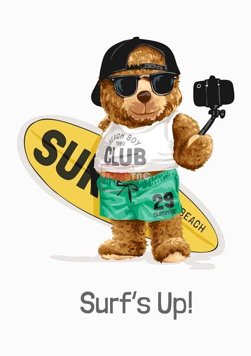 卡通动物冲浪板小熊字母潮牌印花图案服装裁片T恤卫衣烫图印花花型素材-POP花型网