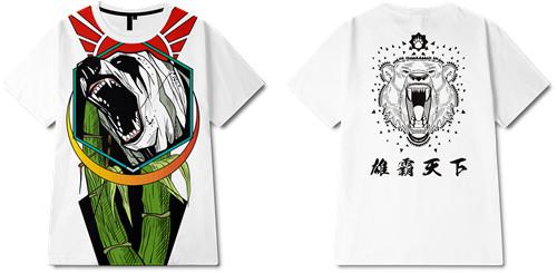 动物熊印花图案服装裁片T恤全身印印花花型素材-POP花型网