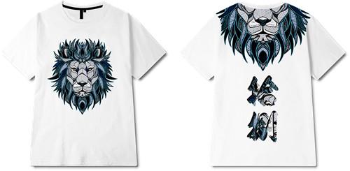 动物狮子印花图案服装裁片T恤全身印印花花型素材-POP花型网