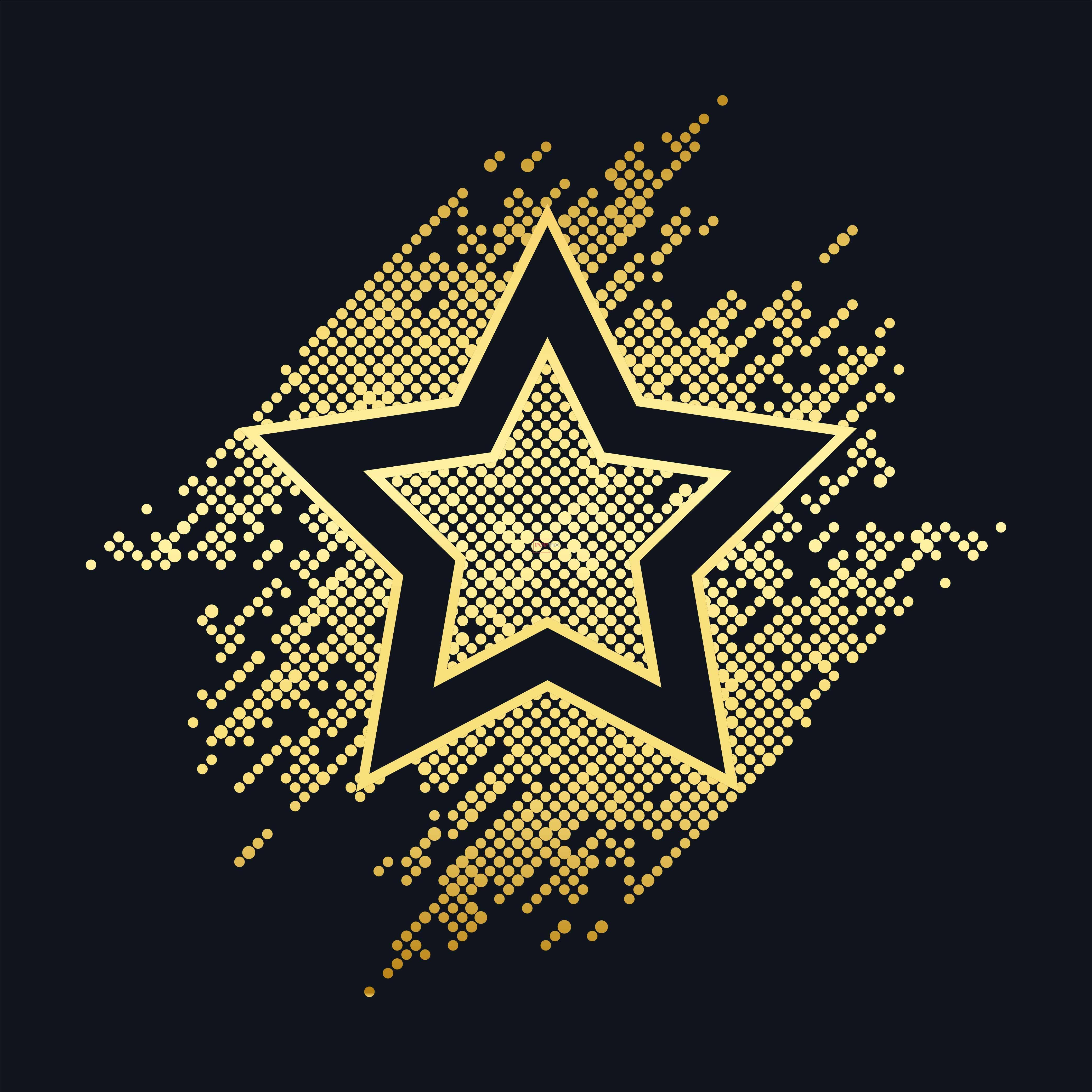 烫钻星星字潮图高清T恤烫画热转印高清素材-POP花型网