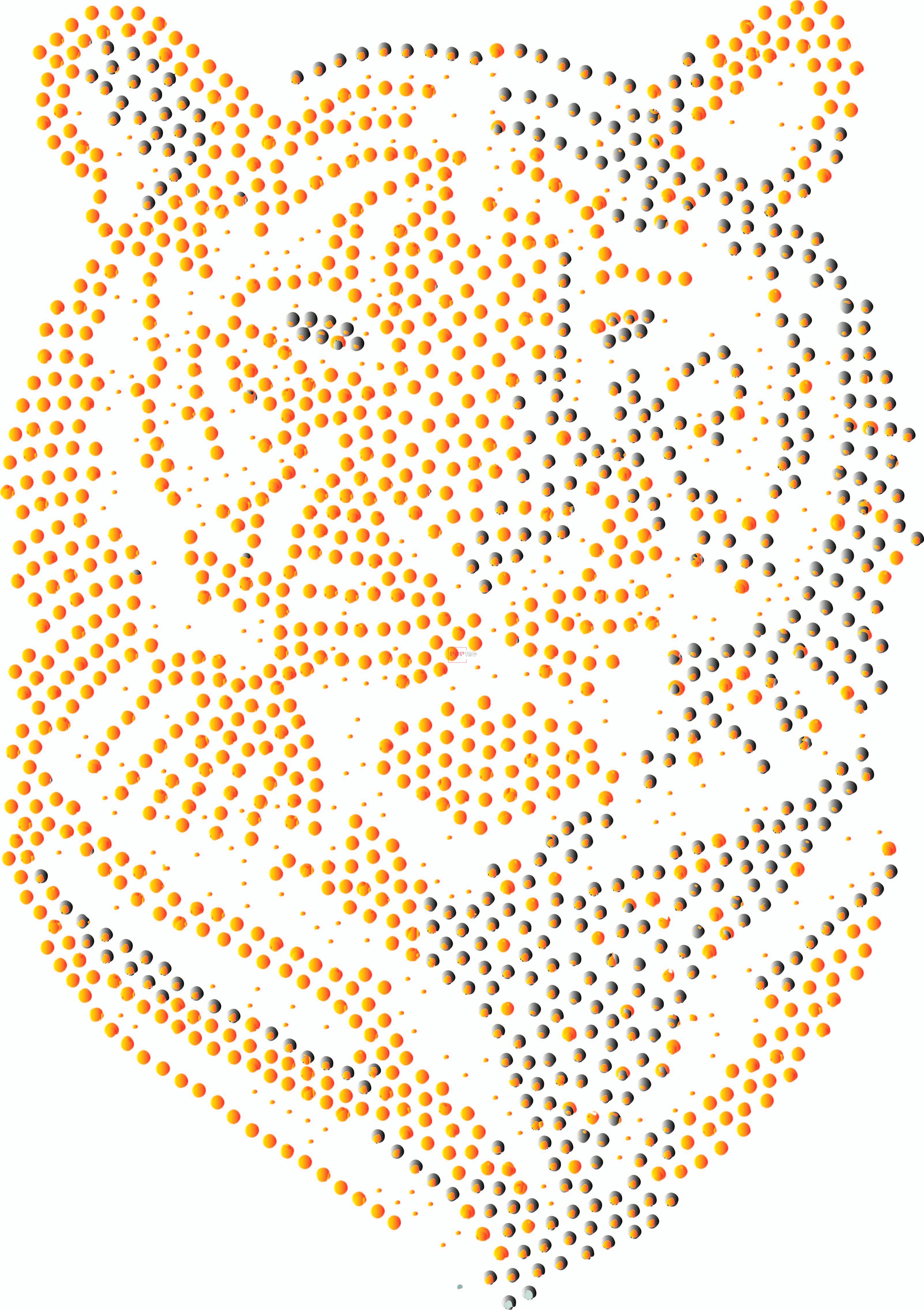 烫钻老虎图案潮图高清T恤烫画热转印高清素材-POP花型网