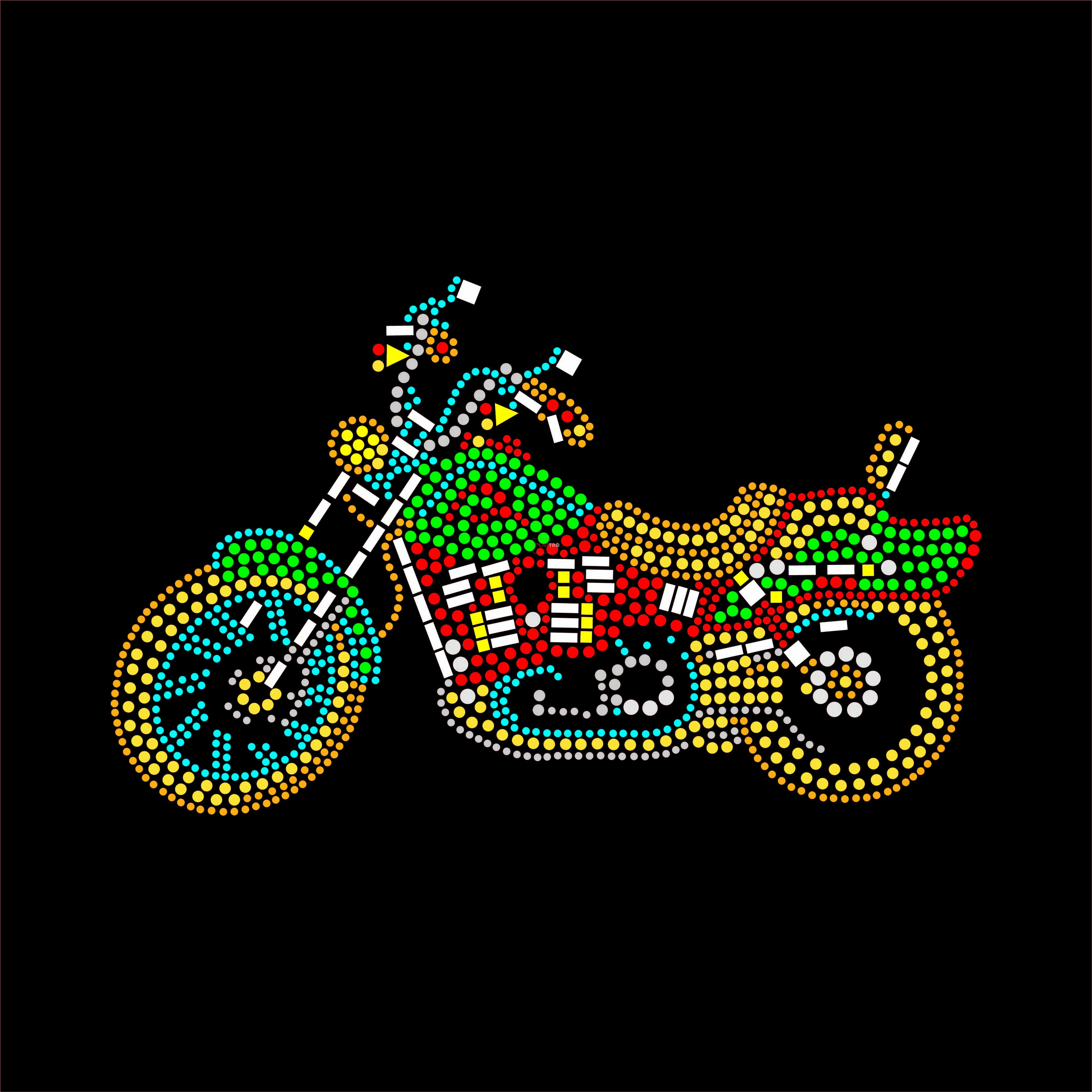 烫钻摩托车图案潮图高清T恤烫画热转印高清素材-POP花型网