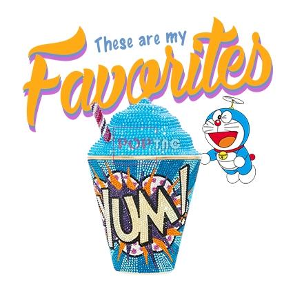 卡通动漫哆啦A梦字母冰淇淋潮牌印花图案服装裁片T恤烫图印花花型素材-POP花型网
