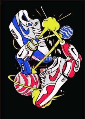 潮牌NIKE球鞋印花图案服装裁片T恤卫衣烫图印花花型素材-POP花型网