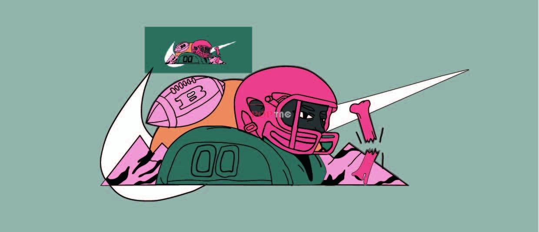 潮牌NIKE耐克字母橄榄球印花图案服装裁片T恤卫衣烫图印花花型素材-POP花型网