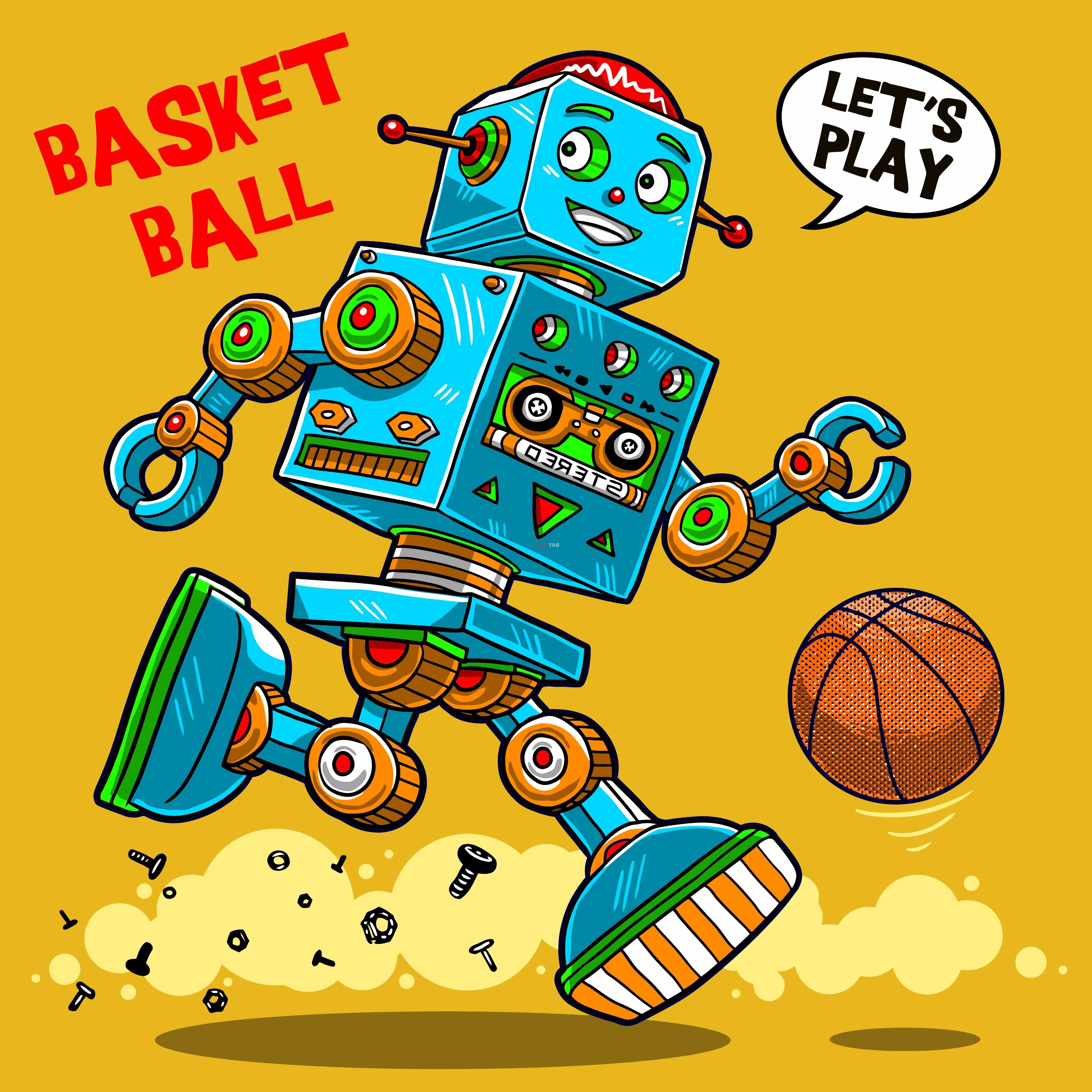卡通动漫篮球机器人字母印花图案服装裁片T恤卫衣烫图印花花型素材-POP花型网