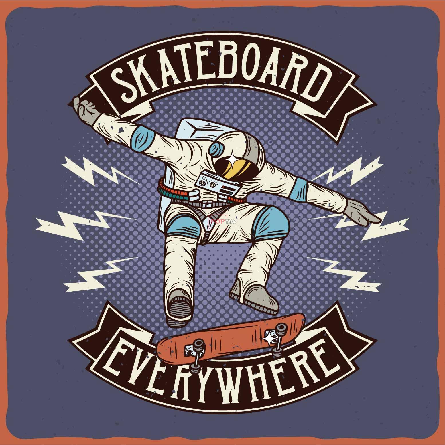滑板太空人字母印花图案服装裁片T恤卫衣烫图印花花型素材-POP花型网