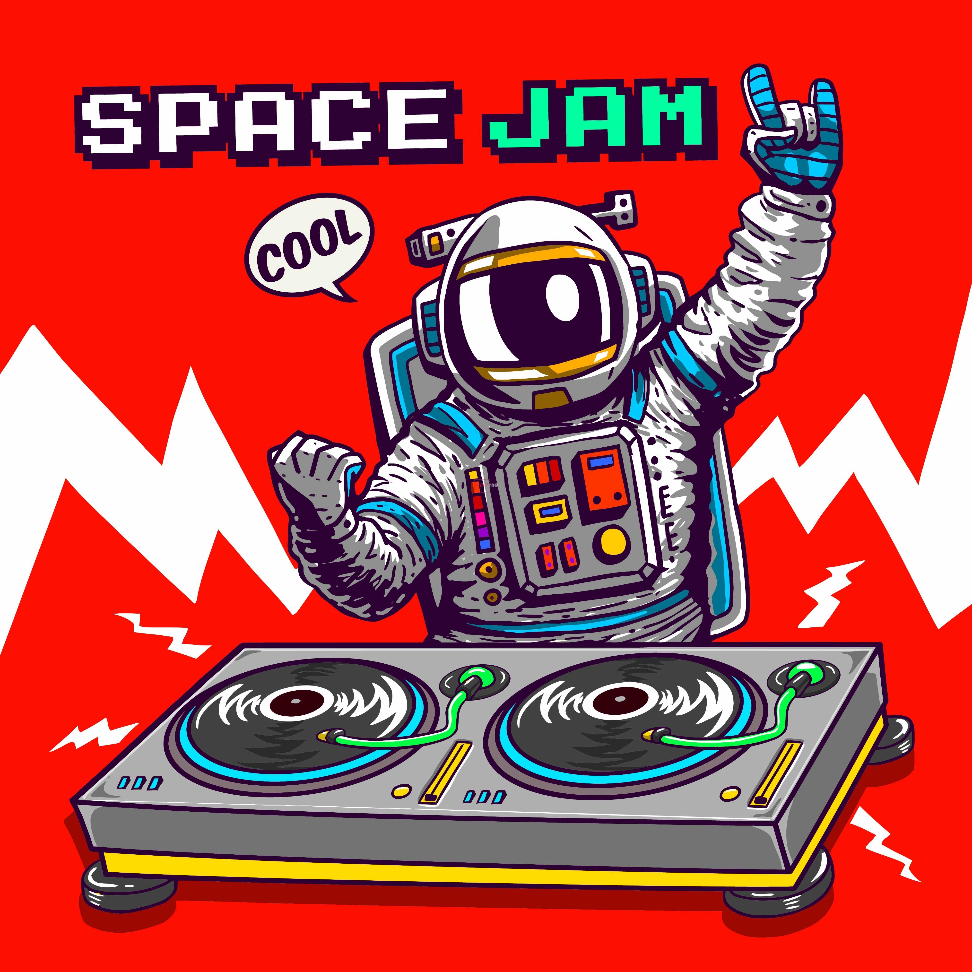 卡通动漫DJ手太空人字母印花图案服装裁片T恤卫衣印花花型素材-POP花型网