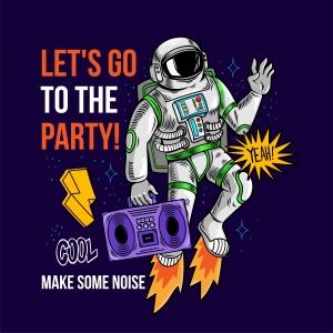 字母图案音乐太空人印花图案服装裁片T恤卫衣烫图印花花型素材-POP花型网