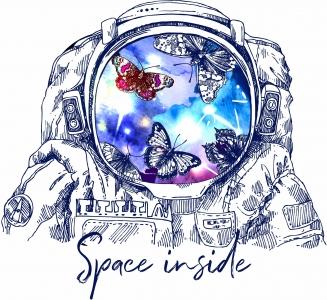 太空人字母蝴蝶印花图案服装裁片T恤卫衣烫图印花花型素材-POP花型网