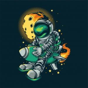 太空人导弹印花图案服装裁片T恤卫衣烫图印花花型素材-POP花型网