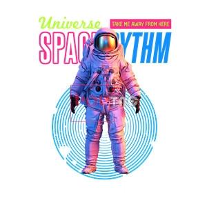 太空人字母印花图案服装裁片T恤卫衣烫图印花花型素材-POP花型网