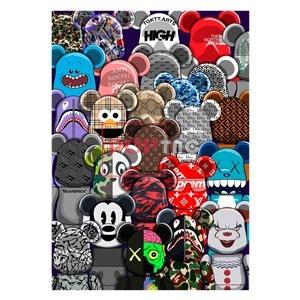 卡通动漫潮牌暴力熊印花图案服装裁片T恤卫衣烫图印花花型素材-POP花型网