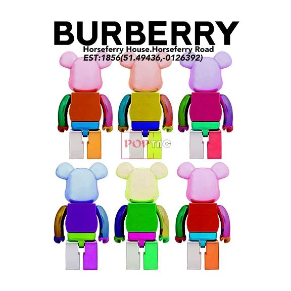 卡通动漫潮牌暴力熊BURBEERY字母印花图案服装裁片T恤卫衣烫图印花花型素材-POP花型网