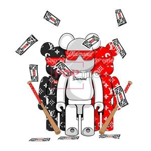 卡通动漫暴力熊字母LV花纹美金印花图案服装裁片T恤卫衣烫图印花花型素材-POP花型网