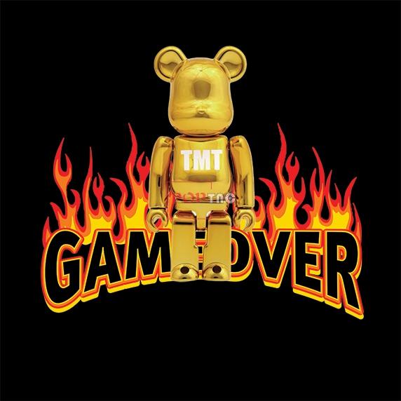 卡通动漫潮牌暴力熊火焰字母GAME OVER印花图案服装裁片T恤卫衣烫图印花花型素材-POP花型网