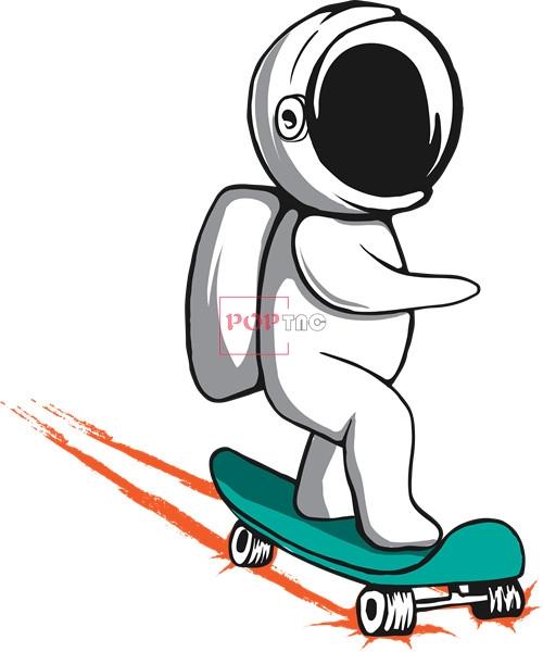 卡通动漫太空人滑板印花图案服装裁片T恤卫衣烫图印花花型素材-POP花型网