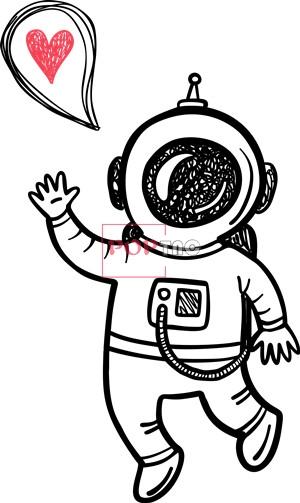 卡通动漫太空人爱心印花图案服装裁片T恤卫衣烫图印花花型素材-POP花型网