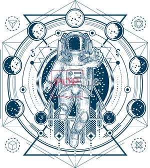 几何天体太空人印花图案服装裁片T恤卫衣烫图印花花型素材-POP花型网