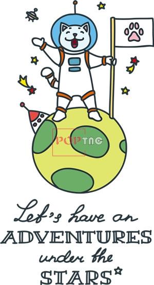 卡通动漫喵星人字母太空人印花图案服装裁片T恤卫衣烫图印花花型素材-POP花型网