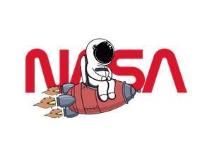 卡通动漫太空人火箭字母NASA印花图案服装裁片T恤卫衣烫图印花花型素材-POP花型网
