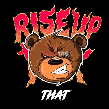 卡通动物暴力熊字母印花图案服装裁片T恤卫衣烫图印花花型素材-POP花型网
