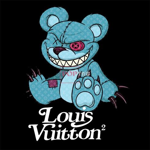 卡通玩偶熊LV花纹字母印花图案服装裁片T恤卫衣烫图印花花型素材-POP花型网