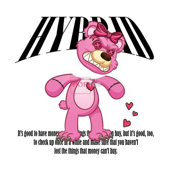 卡通玩偶熊字母印花图案服装裁片T恤卫衣烫图印花花型素材-POP花型网