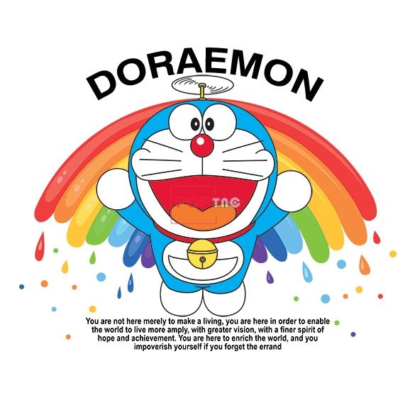 卡通动漫哆啦A梦字母DORAEMON彩虹印花图案服装裁片T恤卫衣烫图印花花型素材-POP花型网