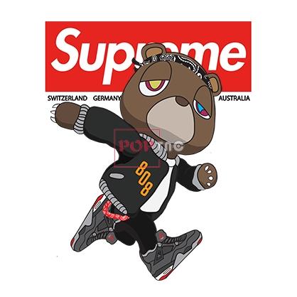 卡通动漫小熊潮牌字母Supreme印花图案服装裁片T恤卫衣烫图印花花型素材-POP花型网