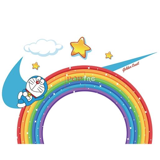 卡通动漫哆啦A梦彩虹星星云朵NIKE耐克印花图案服装裁片T恤卫衣烫图印花花型素材-POP花型网