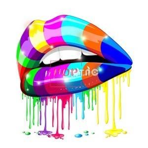 多彩嘴唇色彩印花图案服装裁片T恤卫衣烫图印花花型素材-POP花型网