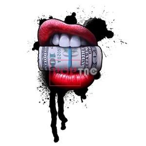 色彩涂鸦嘴唇美金印花图案服装裁片T恤卫衣烫图印花花型素材-POP花型网