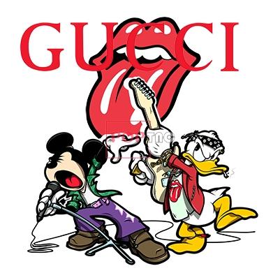 卡通动漫米老鼠唐老鸭嘴唇字母GUCCI印花图案服装裁片T恤卫衣烫图印花花型素材-POP花型网