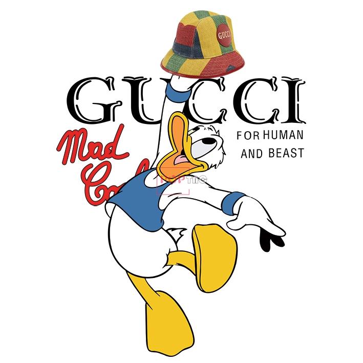 卡通动漫唐老鸭潮牌字母GUCCI帽子印花图案服装裁片T恤卫衣烫图印花花型素材-POP花型网