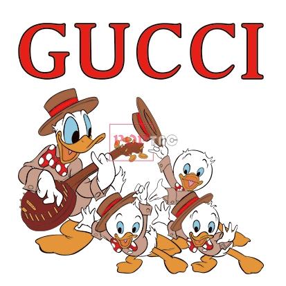卡通动漫唐老鸭潮牌字母GUCCI印花图案服装裁片T恤卫衣烫图印花花型素材-POP花型网