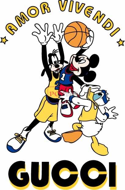 卡通动漫唐老鸭米奇篮球潮牌字母GUCCI印花图案服装裁片T恤卫衣烫图印花花型素材-POP花型网
